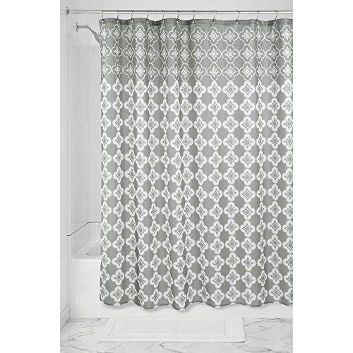 iDesign Turkish Tile Duschvorhang   Designer Duschvorhang aus Stoff mit Ösen   183,0 cm x 183,0 cm groß mit schönem Spa-Muster   Polyester grau/weiß