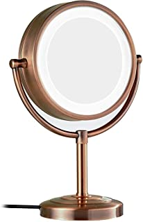 Makeup Mirror, Desktop LED 8.5-inch Cosmetic Mirror 10X Magnification Double-sided Silver Chrome Mirror (Color : Red coppe...