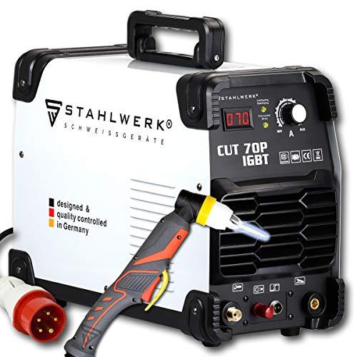 STAHLWERK CUT 70 P IGBT Plasmaschneider mit 70 Ampere, Pilot-Zündung, bis 25 mm Schneidleistung, für Flugrost geeignet, weiß, 7 Jahre Garantie