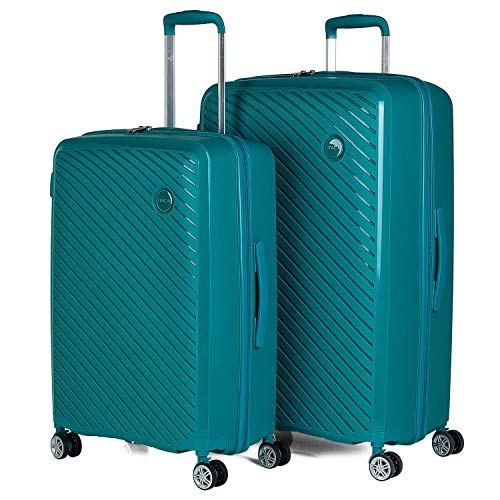 ITACA - Juego de Maletas 4 Ruedas Trolley abs candado TSA. Mediana y Grande. rígidas prácticas cómodas y Ligeras Bonito diseño. 760016, Color Turquesa