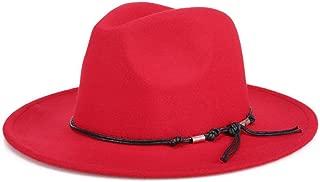 Bullidea Women Lady Winter Warm Hat Felt Cloth Soft Jazz Cap Elegant Belt Decoration Design Solid Color Basin Cap Keep Warm in Cold Weather(Red)