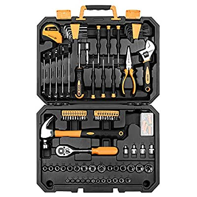 DEKOPRO 128 Piece Tool Set-General Household Hand Tool Kit, Auto Repair Tool Set, with Plastic Toolbox Storage Case from DEKOPRO