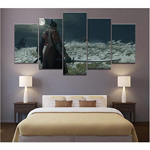 Jwqing 5 Stück Print Canva Paintings Warrior Wandkunst Bild Poster für Wohnzimmer Home Decor (30x40cmx2 30x60cmx2 30x80cm ohne Rahmen)