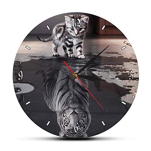 Soul Cat Reflejo Tigre Reloj De Pared Impresión Reloj De Pared Tabby Kitten Reflejo Tigre Blanco Creativo Wanduhr Decoración En Relojes De Pared De Hogar Y Jardín En Aliexpress.Com | Grupo Alibaba