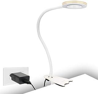 CeSunlight - Lámpara de escritorio con pinza (8 W, luz blanca cálida, luz blanca diurna, 3 colores, 10 modos de iluminación regulables), color blanco