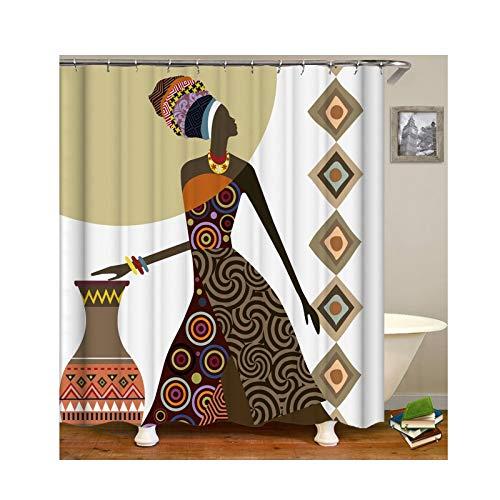 Daesar 3D Anti Schimmel Duschvorhang 165x200 Afrikanische Frau Duschvorhang Waschbar aus Polyester-Stoff