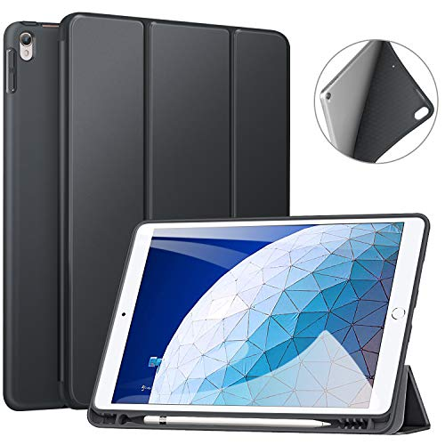 Ztotop Case for iPad Air 10.5' (3rd Gen) 2019/iPad Pro 10.5' 2017 with Pencil Holder, Ultra Slim Soft TPU Back and Trifold Stand Cover with Auto Sleep/Wake Full Body Protective Smart Case, Dark Gray