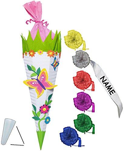 alles-meine.de GmbH BASTELSET Schultüte - Schmetterling & Blumen - 85 cm - incl. individueller Schleife - mit / ohne Kunststoff Spitze - Zuckertüte - Set zum selber Basteln -..