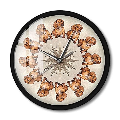 Reloj de Pared Slient Activado por Sonido Wieners en un círculo Puppy Pet Dachshund Luz LED Tienda de Mascotas Reloj Redondo Colgante Regalo 12 Pulgadas