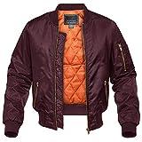 CRYSULLY Men's Bomber Jackets Fall Winter Outerwear Baseball Varsity Jacket Wine Red