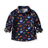 Baby Boys Girls Button Down Shirts Hawaiian Cartoon Print Slim-Fit Long Sleeve Cool Dress Shirt Cute Top for Kids (Navy Dinosaur, 3-4 T)