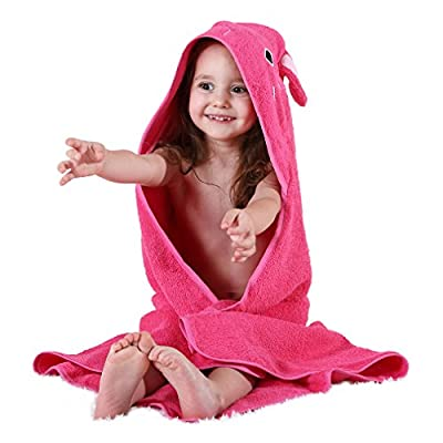 MICHLEY Animal Face Hooded Baby Towel Cotton Bathrobe for Boys Girls 0-6 Year Rose