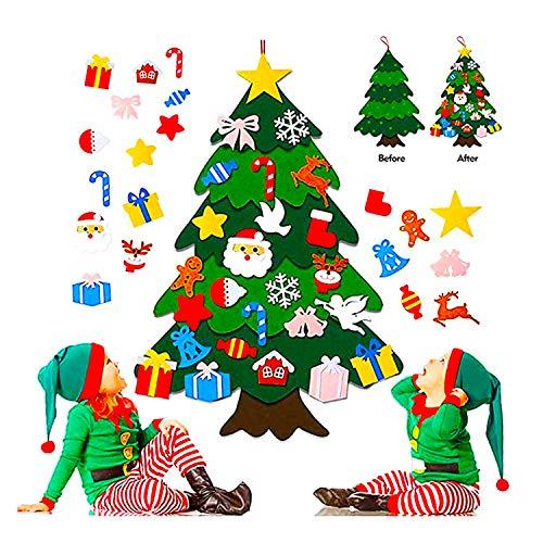 Flysee 3D Arbol Navidad Fieltro DIY,3.3ft 25 Piezas Arbol de Navidad Fieltro Decoración ,Colgante de Pared Niños Adornos Extraíbles para Niños Decoraciones de Navidad Año Nuevo Navidad Regalo