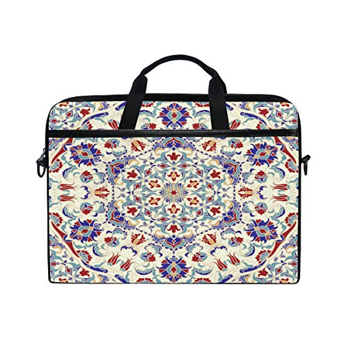 HaJie Laptop Bag Tribal Ethnic Mandala Flower Computer Case 14-14.5 in Protective Bag Travel Briefcase with Shoulder Strap for Men Women Boy Girls