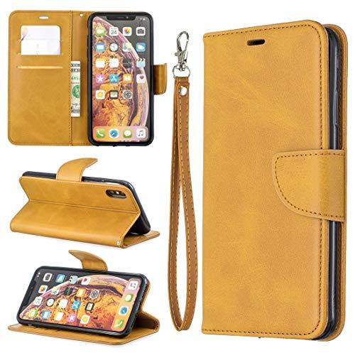 HH-Phone Case - Funda para Galaxy M10, diseño retro de piel de cordero con textura de piel de cordero y color puro, con soporte y ranuras para tarjetas, cartera y cordón (color amarillo)