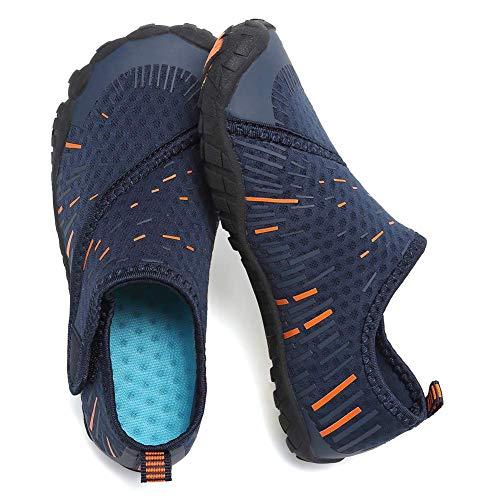 CIOR Boys & Girls Water Shoes Quick Drying Sports Aqua Athletic Sneakers Lightweight Sport Shoes(Toddler/Little Kid/Big Kid) U1ELJSX011-Navy.orange-33