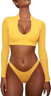 Women's Long Sleeves Swimsuit Mesh Cover up Cutout Thong Bikini Bathing Suits Two Piece Swimwear