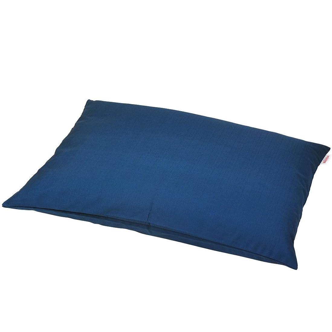 秘密の弾性砦枕カバー 60×80cmの枕用 紬クロス ファスナー式 ステッチ仕上げ 日本製 枕 綿 ブルー