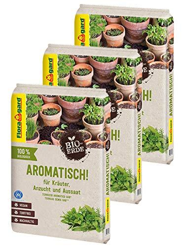 Floragard Bio-Erde Aromatisch 3x10 Liter - für Anzucht und Aussaat sowie für Kräuter - torffrei und vegan