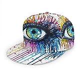Sombreros de béisbol unisex con visera plana para dibujo de ojos de acuarela ajustable Snapback 3D Hip Hop para uso diario, color negro