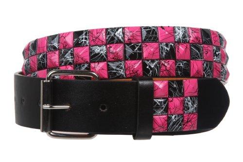 "Snap On 1 1/2"" Hot pink & Black Checkerboard Punk Rock Studded Belt, m 33""-35"""