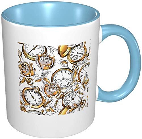 Relojes de bolsillo y flores de rosas Taza de café de porcelana colorida interior con mango de cerámica para capuchino, té, cacao y cereales, azul cielo, 11 oz