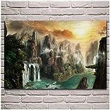 Donde Dios vive acantilados cascadas niebla escena de la naturaleza Carteles Impresiones Pintura en lienzo para la decoración de la sala de estar decoración del arte pared hogar-50x75 cm x1 Sin marco