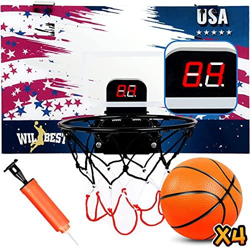 Wilbest Mini Basketball Hoop with Electronic Scoreboard 17'X 13' Over The Door Basketball Hoop Set Indoor Basketball Toy for Kids & Adults
