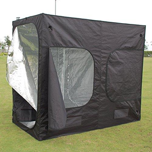 ICOCO 240x 120x 200cm idroponica indoor Grow Tent box argento Mylar foderato Bud pianta Grow Room Premium serra da giardino (nero)