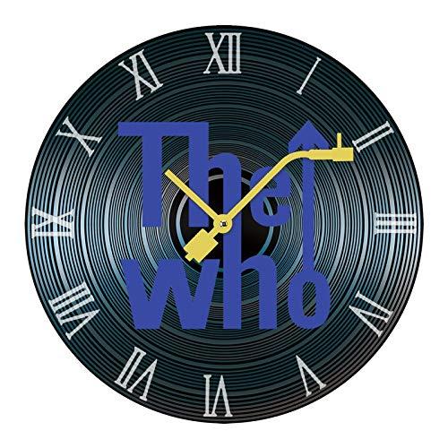 The WHO ザ・フー 4 読みやすい非カチカチ音を立てないサイレントレコード木製の壁時計ホームオフィスの装飾