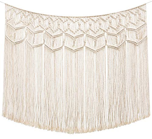 """Mkono Macrame Wall Hanging Curtain Fringe Garland Banner Boho Wall Decor Woven Home Holiday Decoration for Apartment Bedroom Living Room Gallery Nursery, 43"""" L x 26"""" W"""