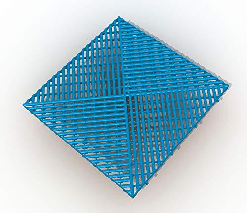Bodengitter, Balkonfliese, Rasenfliese, Bodenrost, Terrassenfliese, 400 x 400 x 19 mm, aus Kunststoff, ab 12 Stück (12, blau)