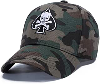WUKE Baseball Cap, Adult/Unisex Cotton Camouflage Spades Skull Embroidery Curved Brim, Outdoor
