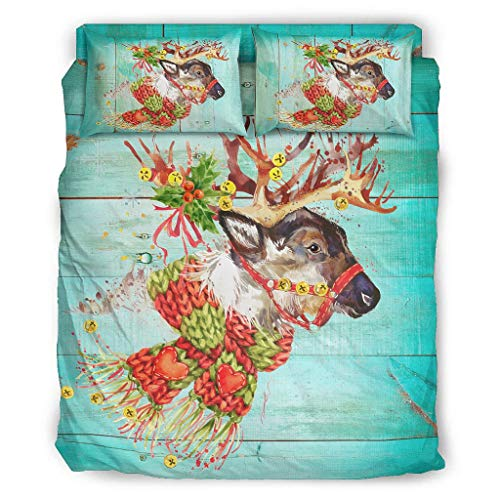 Four-piece Bed Set Printed Deer Love Christmas Bedding Set Easy Care Christmas Duvet Cover white 240x264cm