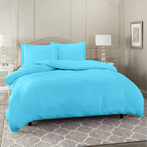 Nestl Bedding Duvet Cover 3 Piece Set – Ultra Soft Double Brushed Microfiber Hotel Collection – Comforter Cover with Button Closure and 2 Pillow Shams, Beach Blue - California King 98'x104'