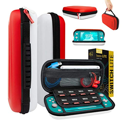 Carry Case for Nintendo Switch Lite - Portable Travel Carry Case with Storage for Switch Lite Games & Accessories [Red & White]