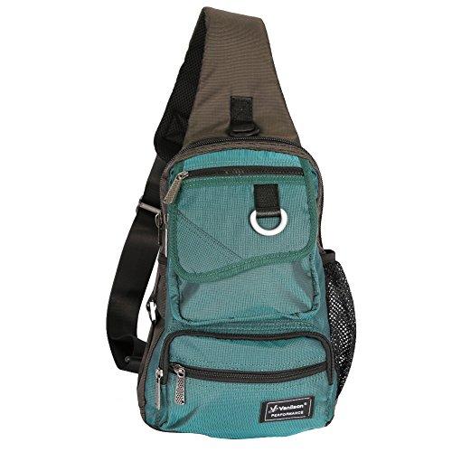 Vanlison Schling-Tasche, Brust-Schulter-Rucksack , Umhängetasche, Mehrzweck-Tages-Rucksack für Männer, Frauen L seeblau