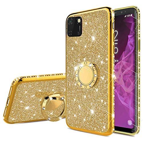 Nadoli Glitzer Hülle für Huawei Y5P,Kristall Diamant Strass Bumper mit 360 Ring Kickstand Silikon Schutzhülle Handyhülle Frauen Mädchen für Huawei Y5P,Gold
