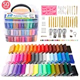 Polymer Clay, Shuttle Art 50 Colors 1.2 oz/Block Soft Oven Bake Modeling Clay Kit, 19 Tools and 10 Kinds of Accessories, Non-Stick, Non-Toxic, Ideal DIY Gift for Kids [ Total 4.1LB ]
