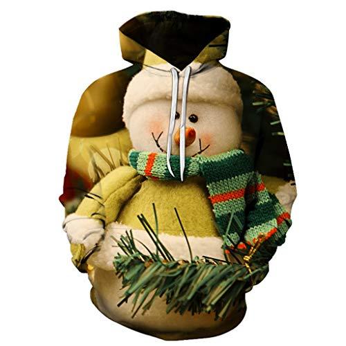 Dasongff Unisex hoodie 3D print hoodie Kerstpullover met capuchon lange mouwen bont sweatshirt ronde hals Xmas sweatshirt capuchon voor dames en heren S-XXXXL X-Large groen