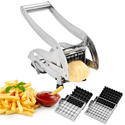 French Fry Cutter, IKOCO Potato Cutter Stainless Steel Potato Chipper Vegetable Slicer with 1/2-Inch Blade, A Strong Suction Rubber Pad, for Potatoes, Carrots, Cucumbers and More
