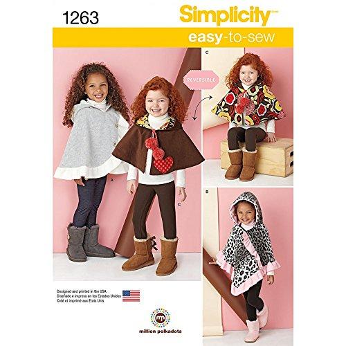 Simplicity 1263Größe EIN Kind 's Poncho und Wendeumhang Schnittmuster, Mehrfarbig