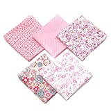 Yemiany 5 piezas diferentes patrones de arte de algodón Patchworks Paquete de tela Patchwork mixto para manualidades de costura de álbumes de recortes de bricolaje(Rosa,50X50 CM)
