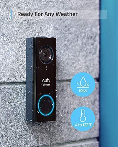 eufy Security, Wi-Fi Video Doorbell, 2K Resolution, No Monthly Fees, Secure Local Storage,Human Detection, 2-way audio, Free Wireless Chime-   Requires Existing Doorbell Wires