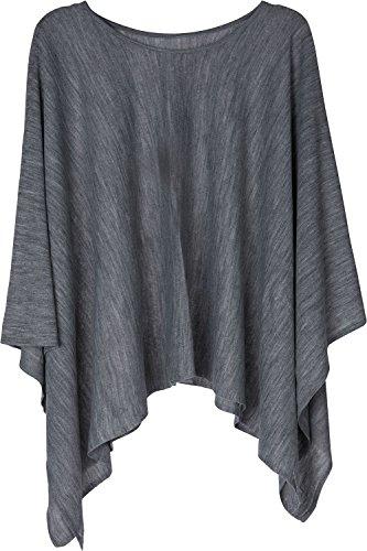 styleBREAKER Feinstrick Poncho leicht und Unifarben, Rundhals, Damen 08010047, Farbe:Grau