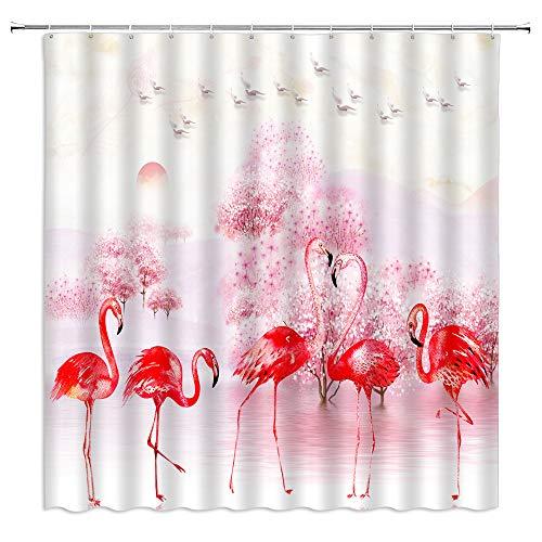 Flamingo-Duschvorhang, roter Flamingo-Aquarellgemälde, tropische Vögel, Tiere, Rosa, Kirschbaum, Möwe, Sonnenaufgang, Szene, Stoff, Badezimmer, Heimdekor, Sets mit 12 Haken, 180 x 180 cm, Rot Pink