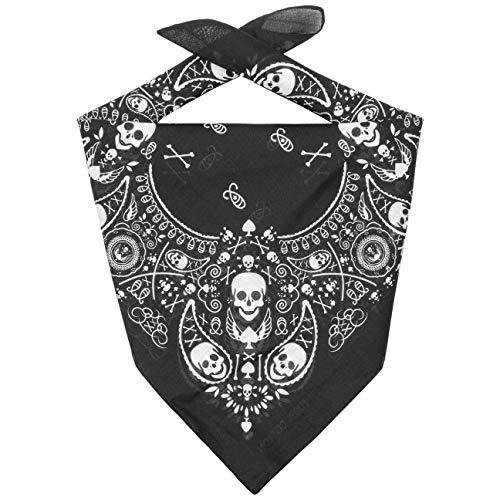 LIPODO Bandana in Cotone Skulls Donna/Uomo/Bambini - Sciarpa Fascia per Capelli Protezione Faccia Estate/Inverno - Taglia Unica Nero