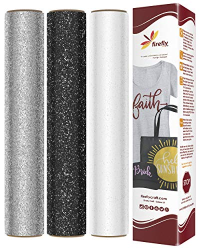 Firefly Craft Glitter Heat Transfer Vinyl Bundle | Glitter HTV Vinyl Bundle | Glitter Iron On Vinyl for Cricut and Silhouette | Pack of 3 Colors Including White, Black & Silver - 12 x 20 Each