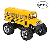 Bedwina Die Cast Yellow School Bus - 2 Pack Set Monster Truck School Bus, Pull Back Car Toys, Play Vehicles and Gifts for Toddlers, Kids That Makes for Great Party Favors