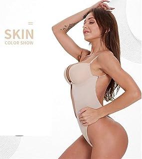 Guomao Waist Trainer Shaper Body Tummy Shaper Shapewear Faja Women Deep V Bodysuit Clear Strap Backless Plunge Bra (Color : Beige, Size : XL 38C-38D-40B-40D)